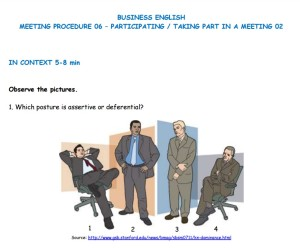 Business English - Meeting Procedure - Participating- Taking part in a meeting