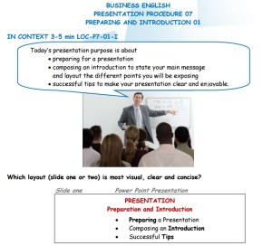 Business English - Presentation Procedure - Preparing & Introduction