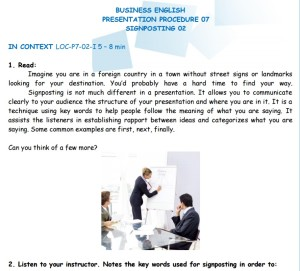 Business English - Presentation Procedure - Signposting